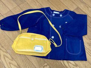 保育園の園児服と通園バッグ